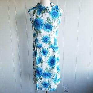 1960s Leslie Fay Blue Floral & White Poly/Cotton D